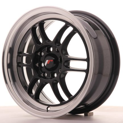 JAPAN RACING JR Wheels JR7 15x7 ET38 4x100/114 Gloss Black w/Machined Lip 7.00x15