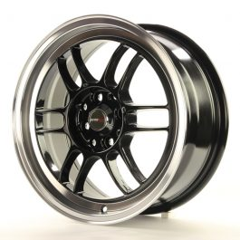 JR Wheels JR7 16×7 ET40 4×100/114 Gloss Black w/Machined Lip