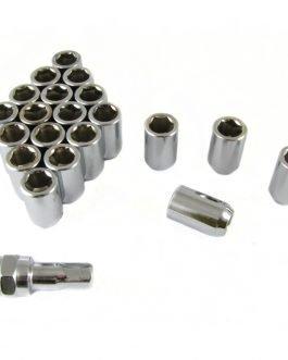 Set of SILVER imbus lug nuts 12×1,5 + Key
