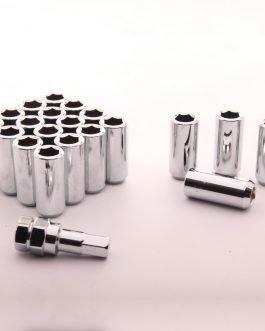 Set of SILVER LONG imbus lug nuts 12×1,25 + Key