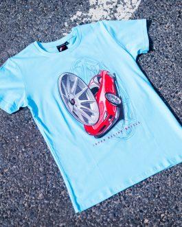 JR Men T-Shirt JR-11 Car Turquoise Size L
