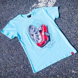 JR Men T-Shirt JR-11 Car Turquoise Size S