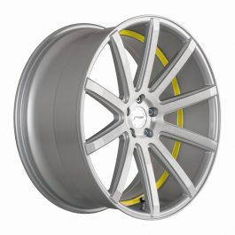 Corspeed DEVILLE Silver-brushed-Surface/ undercut Color Trim gelb 9.0×20 ET: 25 – 5×112