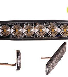 LED-TASOVILKKU R65 12/24V 6-LED KELT.  131X30X7MM