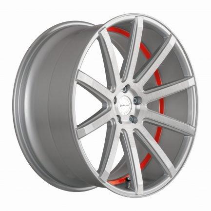 Corspeed DEVILLE Silver-brushed-Surface/ undercut Color Trim rot 9.5x22 ET: 37 - 5x108