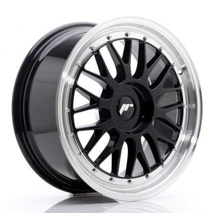 JAPAN RACING JR Wheels JR23 18x8 ET30-45 BLANK Glossy Black w/Machined Lip 8.00x18