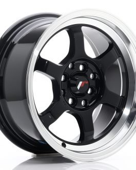 JR Wheels JR12 15×7,5 ET26 4×100/114 Gloss Black w/Machined Lip