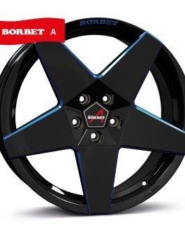 Borbet A black blue glossy 8×18 ET: 45 – 5×108