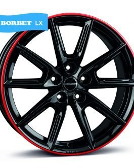 Borbet LX18 black glossy rim red 8.0×18 ET: 48 – 5×112