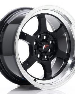 JR Wheels JR12 15×7,5 ET26 4×100/108 Gloss Black w/Machined Lip