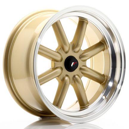 JAPAN RACING JR Wheels JR19 17x8 ET-20-0 BLANK Gold w/Machined Lip 8.00x17