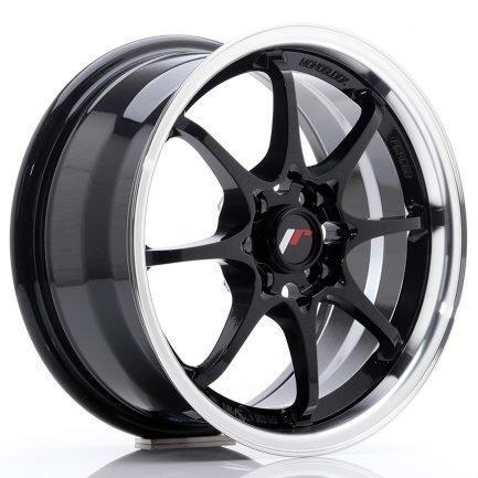 JAPAN RACING JR Wheels JR5 15x7 ET35 4x100 Gloss Black w/Machined Lip 7.00x15
